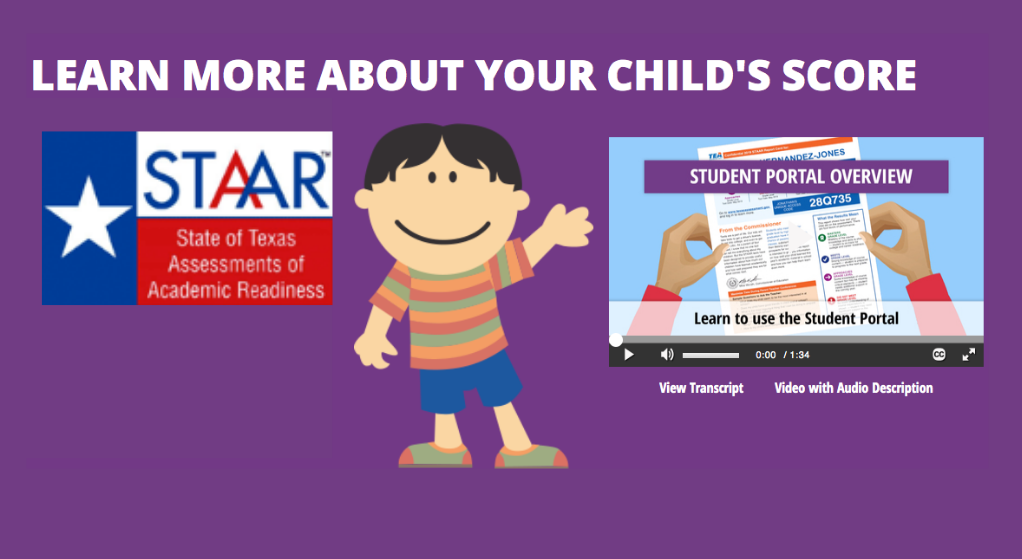 Animated boy with STAAR score flyer
