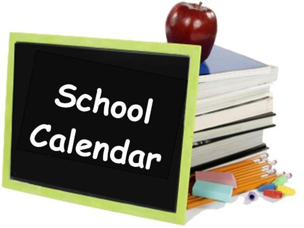 Stack of books and chalk board School Calendar