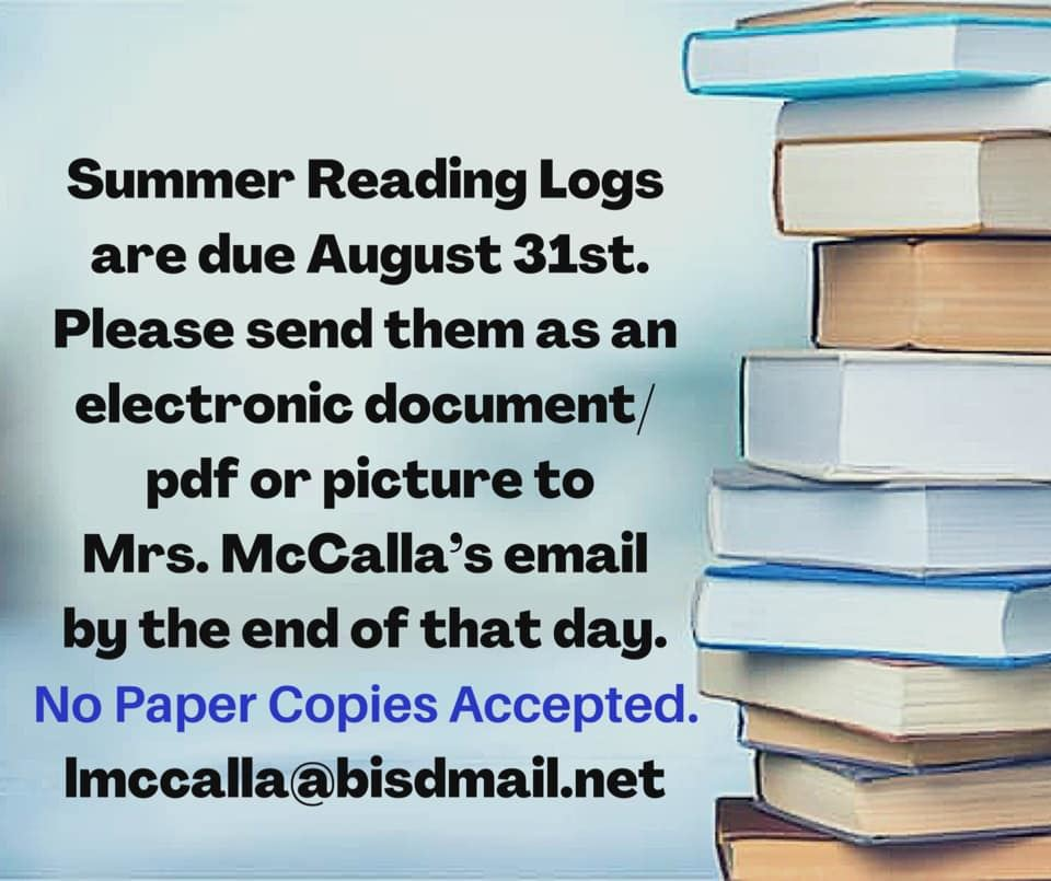 Stack of books with reading log due date and information