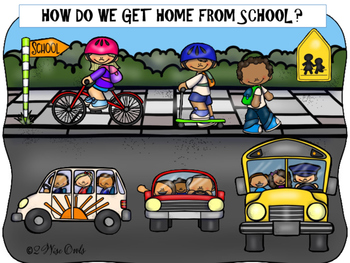 chart with different ways to get home from school; clipart