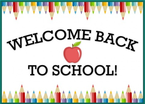 Welcome back to school with colored pencil border