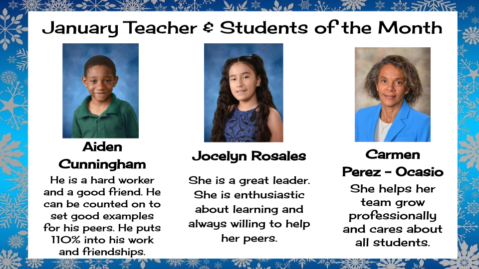 Teacher and Students of the Month