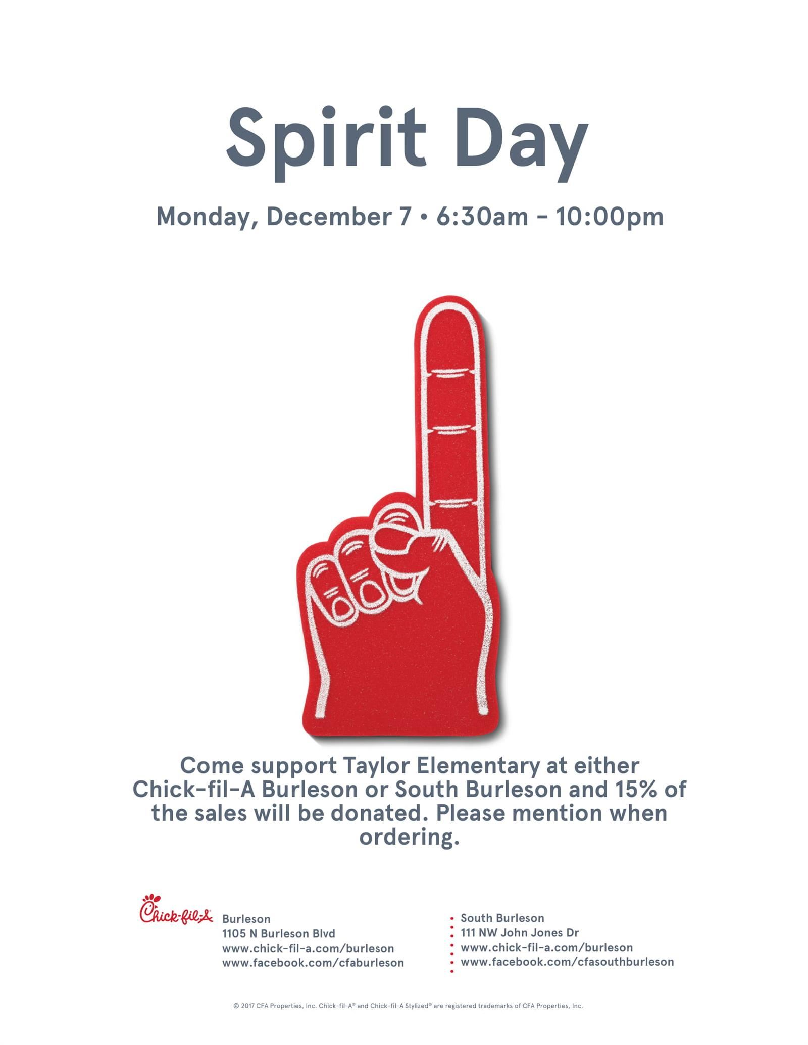 Taylor Chick Fil A Spirit Night - Monday Dec. 7, 6:30 am-10 pm flyer