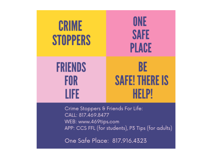 Crimestoppers, Friends For Life & One Safe Place contact info