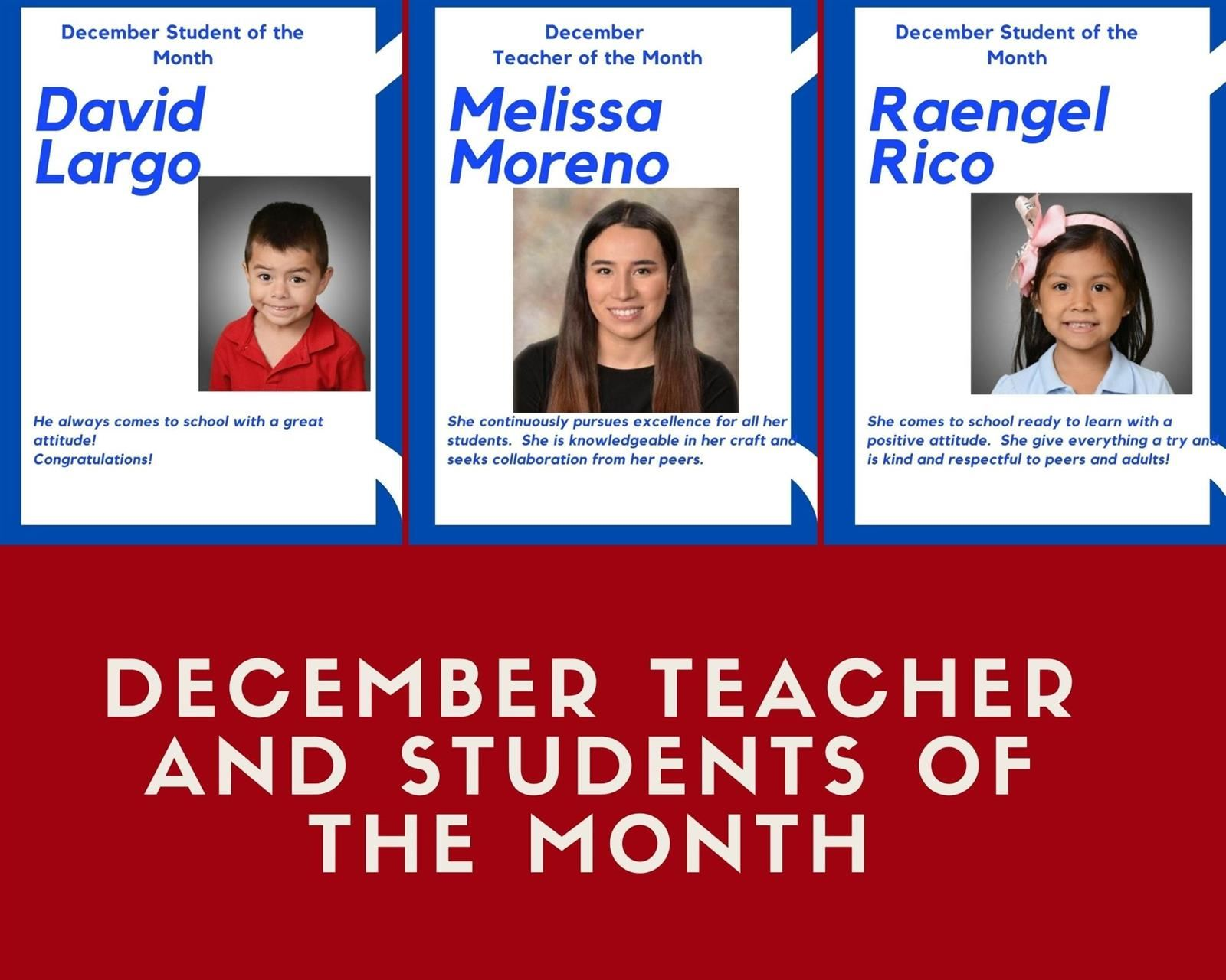 Teacher of the Month Melissa Moreno and Student of the Month David Largo and Raengel Rico