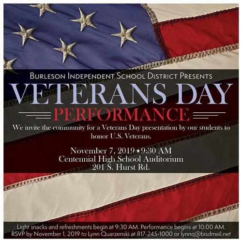 BISD Veterans Day Performance Invitation