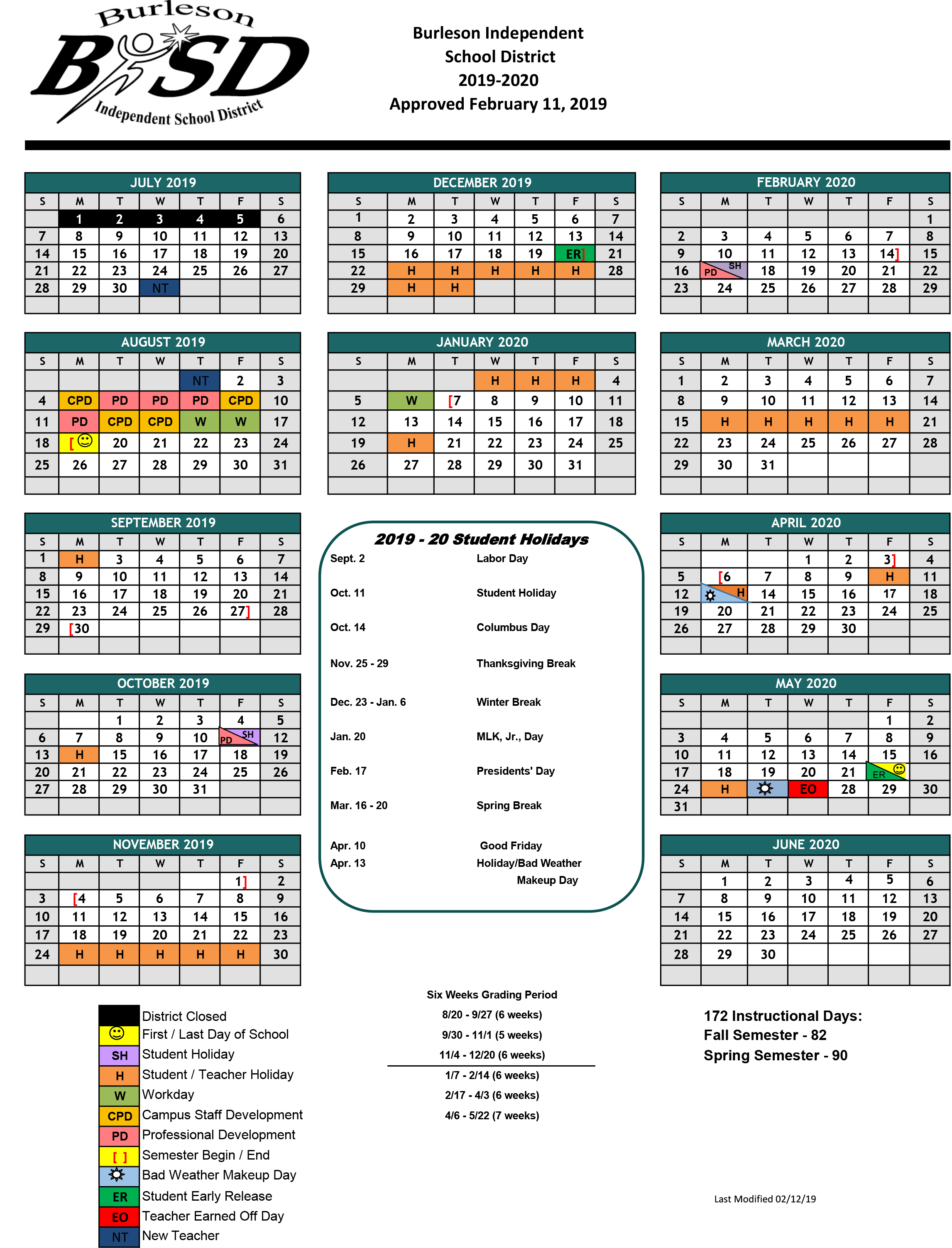 Brownsville Isd Calendar 2019 Burleson ISD Student Calendar for 2019 20 School Year Approved​