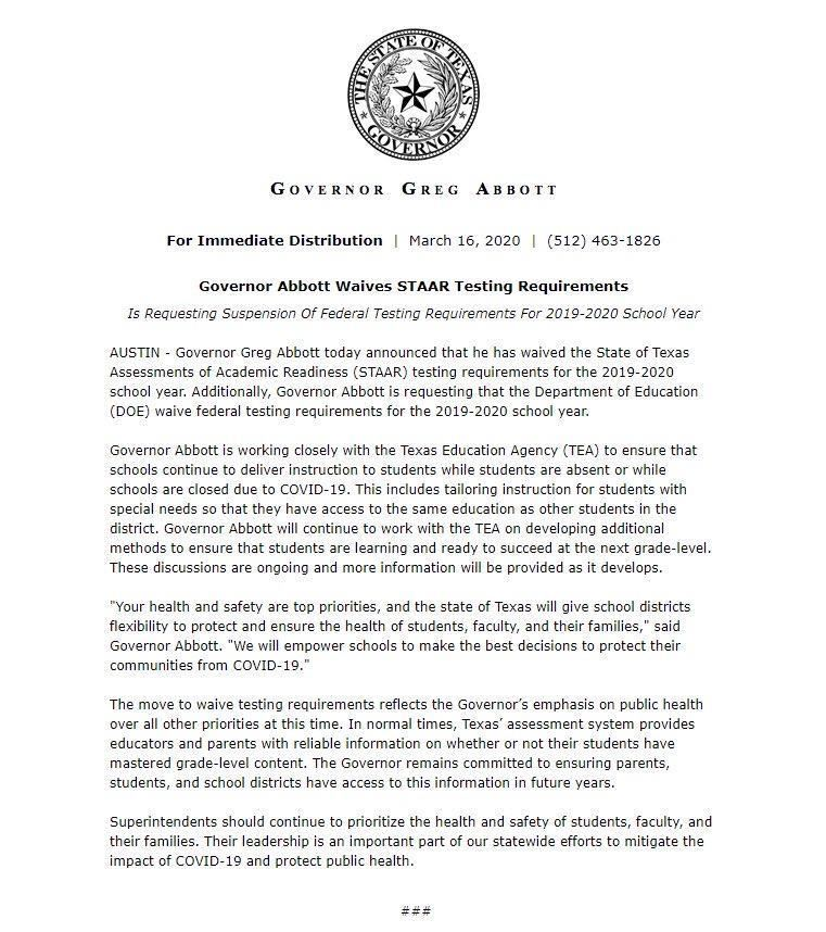 Governor. Abbott Waives STAAR Testing Requirements