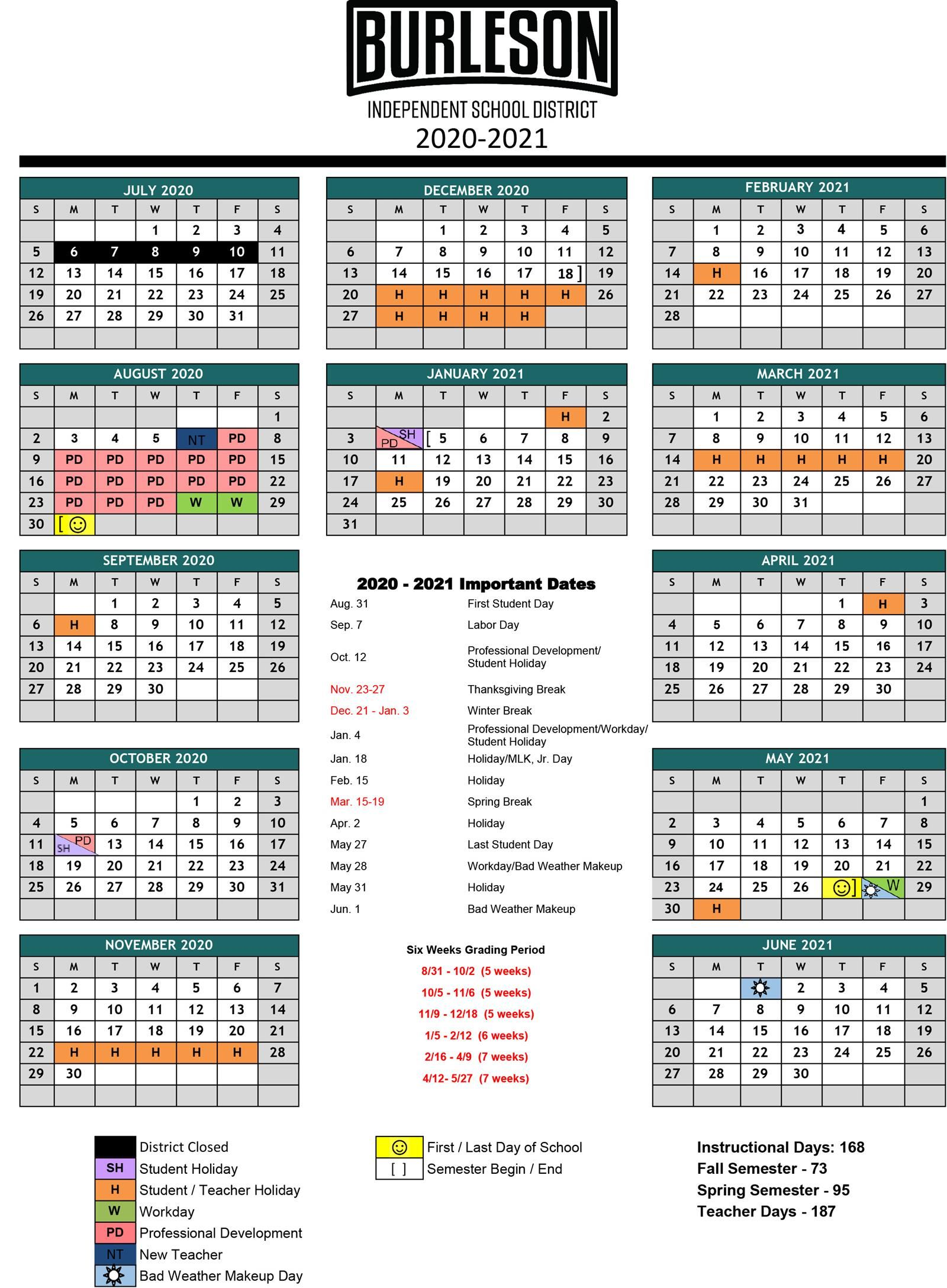 BISD 2020-2021 School Year Calendar Update