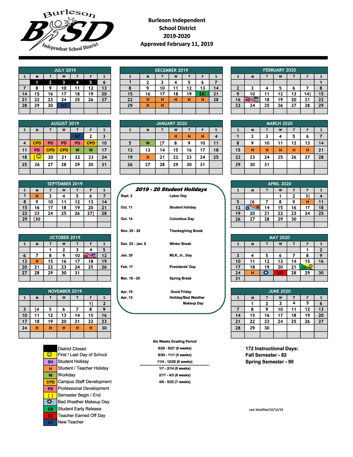 Burleson ISD Student Calendar for 2020-2021 School Year