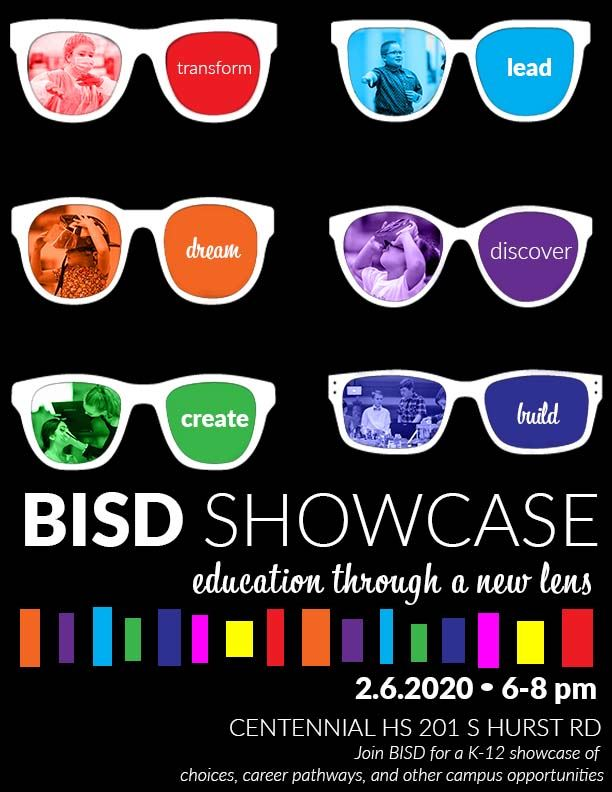 BISD Showcase - Sunglasses: Transform, lead, dream, discover, create and build; 2/6/2020 @ 6-8 pm