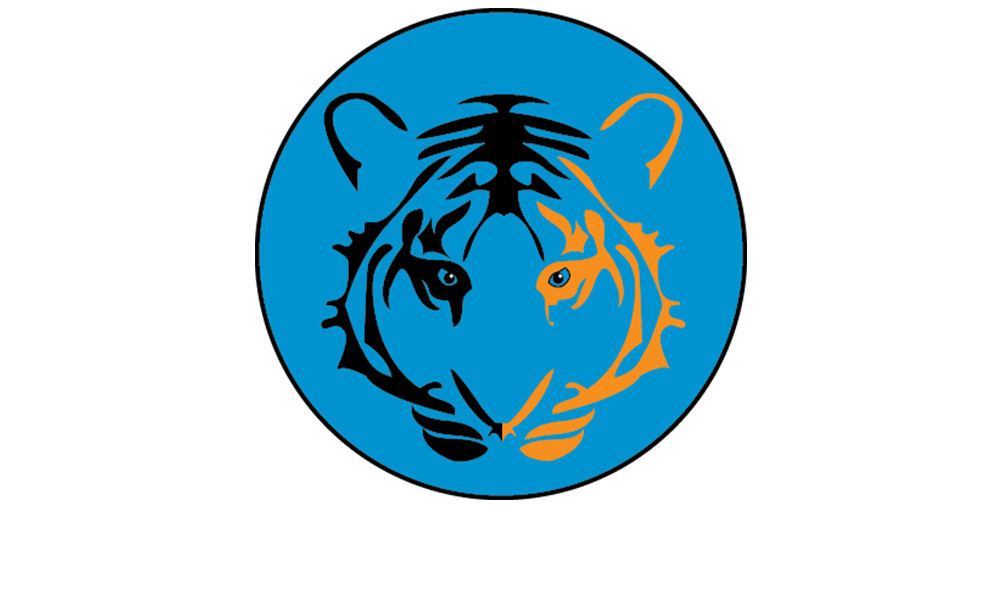 Brock Logo Image of a Black and Yellow Tiger head on a light blue background
