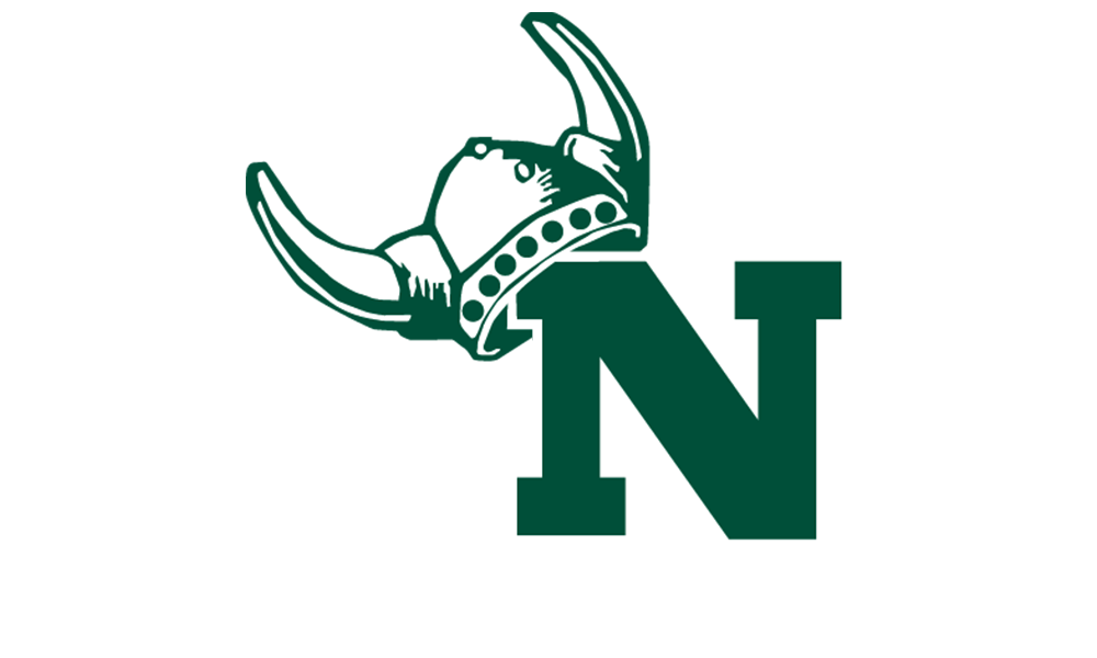 "Norwood Logo Image of a viking helmet on a green capital ""N"""